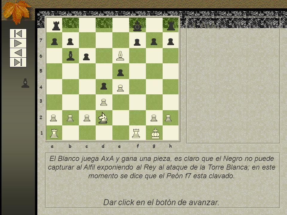 El Blanco juega AxA y gana una pieza, es claro que el Negro no puede capturar al Alfil exponiendo al Rey al ataque de la Torre Blanca; en este momento se dice que el Peón f7 esta clavado.