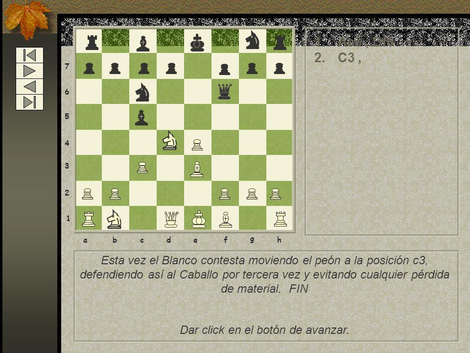 8 7 6 5 4 3 2 1 abcdef g h 1.Ae3, Df6 2.C3, Esta vez el Blanco contesta moviendo el peón a la posición c3, defendiendo así al Caballo por tercera vez y evitando cualquier pérdida de material.