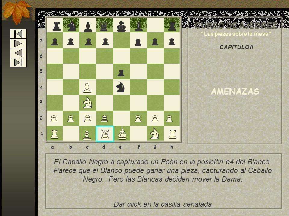 8 7 6 5 4 3 2 1 abcdef g h El Caballo Negro a capturado un Peón en la posición e4 del Blanco.
