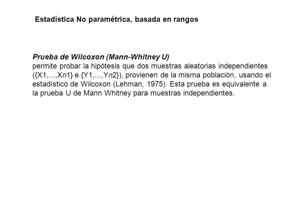 Prueba de Wilcoxon (Mann-Whitney U) permite probar la hipótesis que dos muestras aleatorias independientes ({X1,...,Xn1} e {Y1,...,Yn2}), provienen de