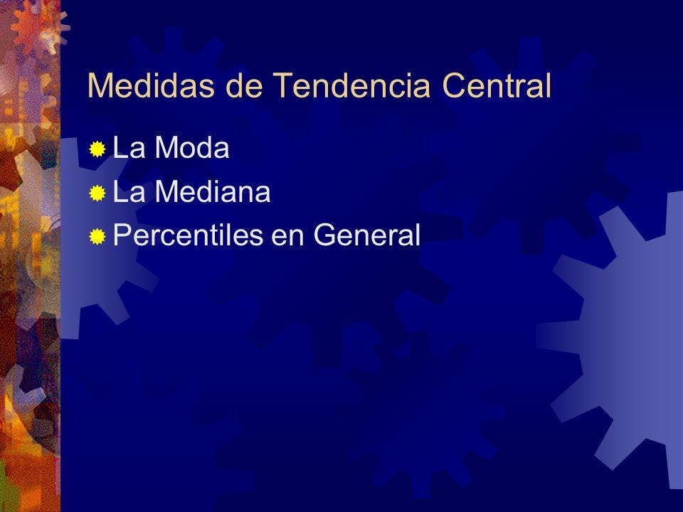 Medidas de Tendencia Central La Moda La Mediana Percentiles en General