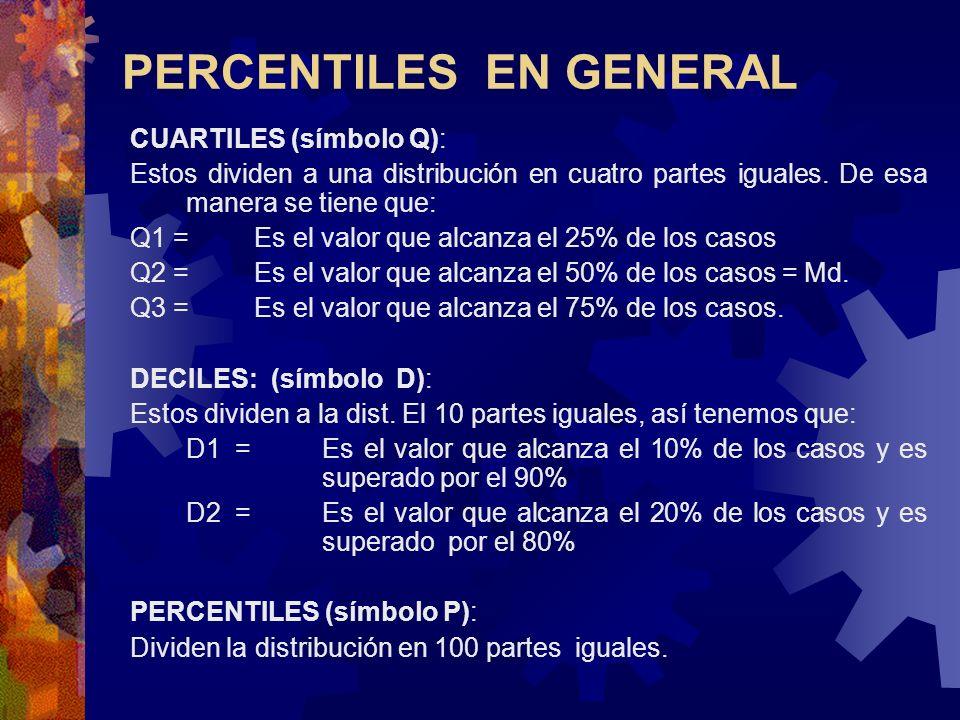 CUARTILES (símbolo Q): Estos dividen a una distribución en cuatro partes iguales. De esa manera se tiene que: Q1 = Es el valor que alcanza el 25% de l