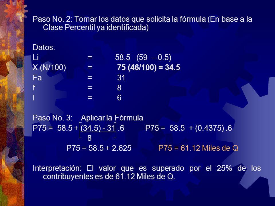 Paso No. 2: Tomar los datos que solicita la fórmula (En base a la Clase Percentil ya identificada) Datos: Li=58.5 (59 – 0.5) X (N/100)= 75 (46/100) =