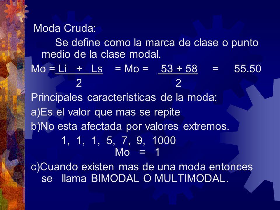 Moda Cruda: Se define como la marca de clase o punto medio de la clase modal. Mo = Li + Ls = Mo = 53 + 58 = 55.50 2 2 Principales características de l
