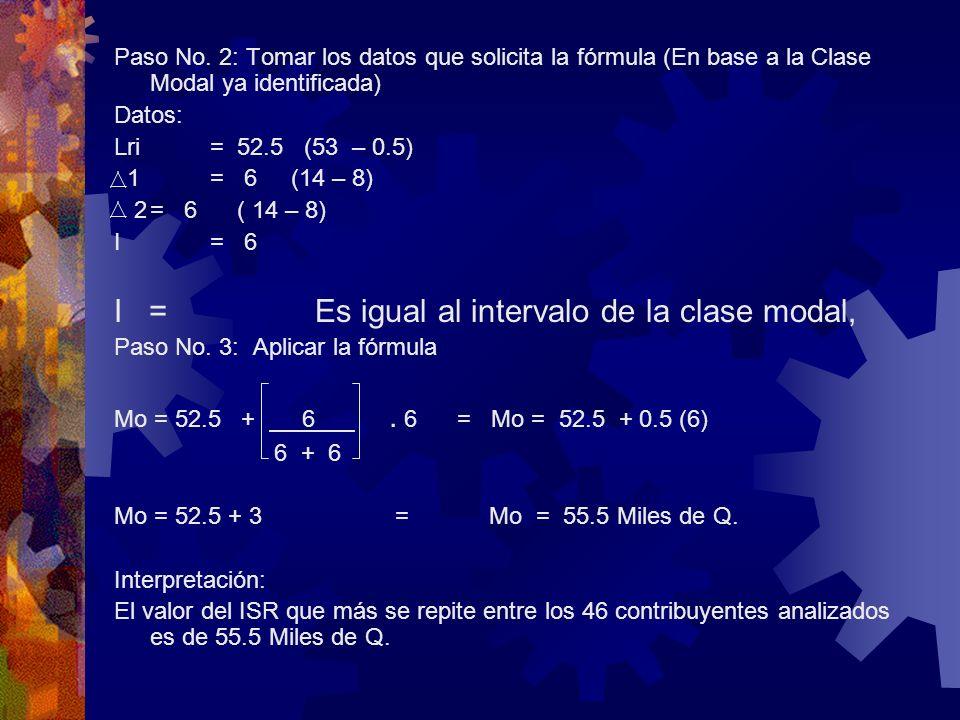 Paso No. 2: Tomar los datos que solicita la fórmula (En base a la Clase Modal ya identificada) Datos: Lri= 52.5 (53 – 0.5) 1= 6 (14 – 8) 2= 6 ( 14 – 8