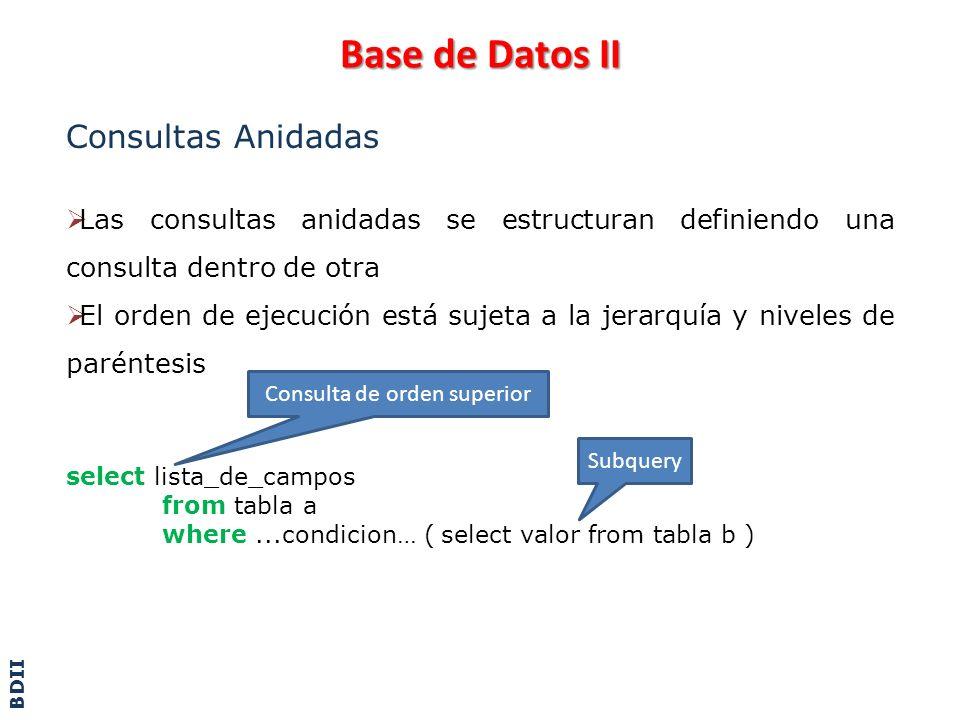 Base de Datos II Consultas Anidadas - Ejemplo select nro_factura, fecha, monto from facturas where monto in ( select max(monto) from facturas ) El compilador toma la sentencia Select y encuentra una subconsulta.