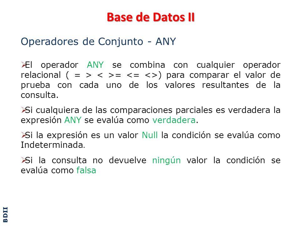 Base de Datos II Operadores de Conjunto - ALL El operador ALL se combina con cualquier operador relacional ( = > = ) para comparar el valor de prueba con cada uno de los valores resultantes de la consulta.