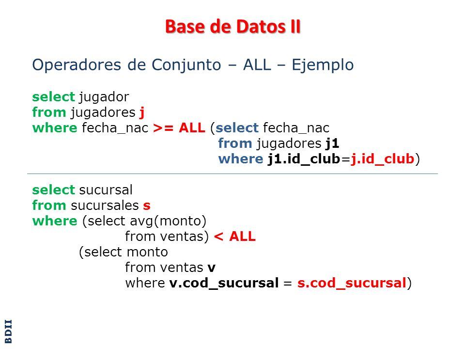 Base de Datos II Operadores de Conjunto – ALL – Ejemplo select jugador from jugadores j where fecha_nac >= ALL (select fecha_nac from jugadores j1 whe