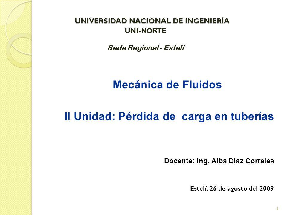 UNIVERSIDAD NACIONAL DE INGENIERÍA UNIVERSIDAD NACIONAL DE INGENIERÍA Mecánica de Fluidos II Unidad: Pérdida de carga en tuberías Docente: Ing. Alba D