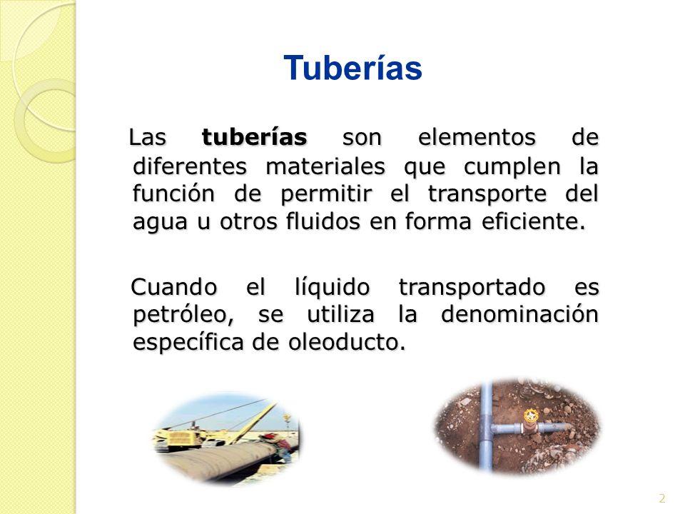 Tuberías 2 Las tuberías son elementos de diferentes materiales que cumplen la función de permitir el transporte del agua u otros fluidos en forma efic