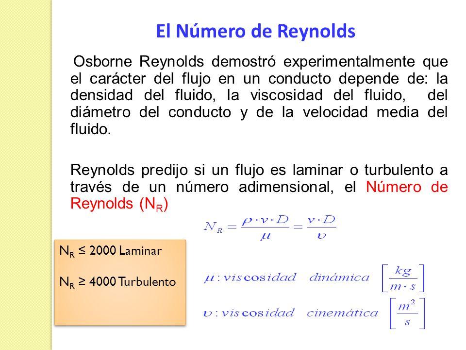 El Número de Reynolds Osborne Reynolds demostró experimentalmente que el carácter del flujo en un conducto depende de: la densidad del fluido, la visc