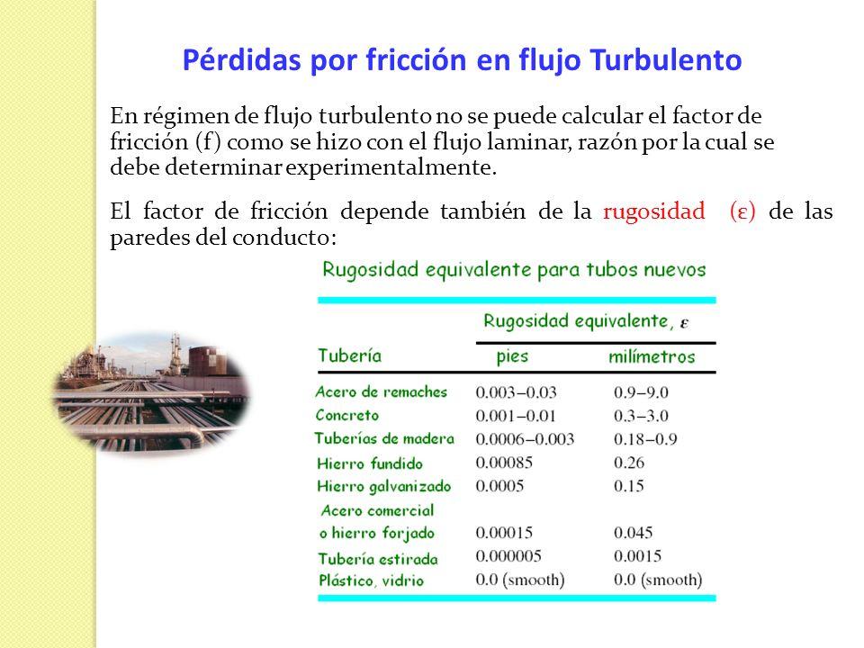 Pérdidas por fricción en flujo Turbulento En régimen de flujo turbulento no se puede calcular el factor de fricción (f) como se hizo con el flujo lami