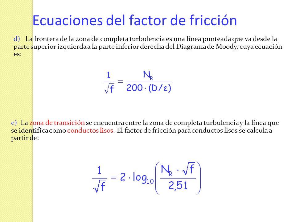 Ecuaciones del factor de fricción d) La frontera de la zona de completa turbulencia es una línea punteada que va desde la parte superior izquierda a l