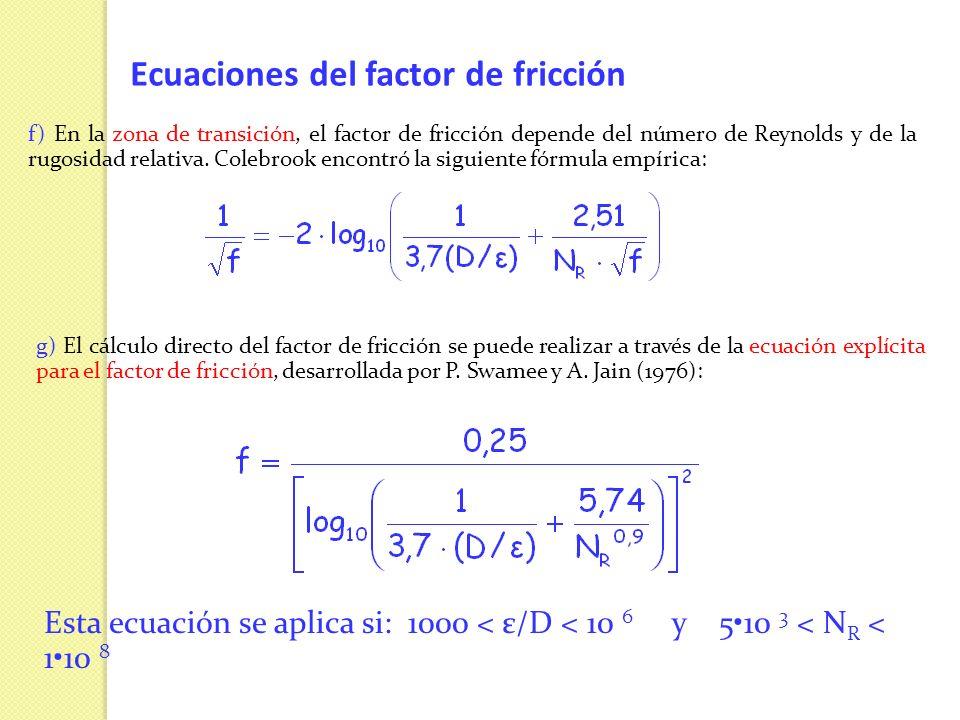 Ecuaciones del factor de fricción f) En la zona de transición, el factor de fricción depende del número de Reynolds y de la rugosidad relativa. Colebr