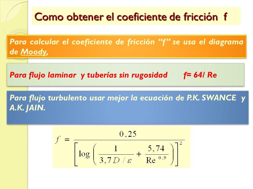 Como obtener el coeficiente de fricción f Para calcular el coeficiente de fricción f se usa el diagrama de Moody, Para flujo laminar y tuberías sin ru