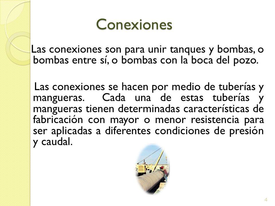 Conexiones Conexiones Las conexiones son para unir tanques y bombas, o bombas entre sí, o bombas con la boca del pozo. Las conexiones se hacen por med