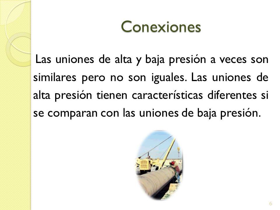 Conexiones Conexiones Las uniones de alta y baja presión a veces son similares pero no son iguales. Las uniones de alta presión tienen características