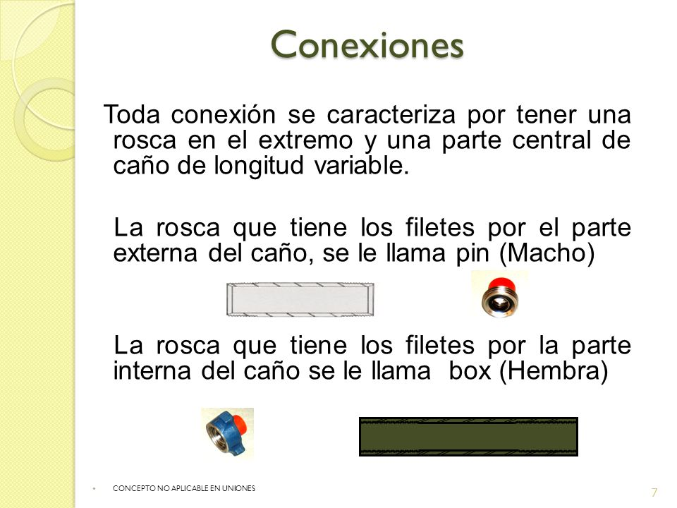 Conexiones Toda conexión se caracteriza por tener una rosca en el extremo y una parte central de caño de longitud variable. La rosca que tiene los fil