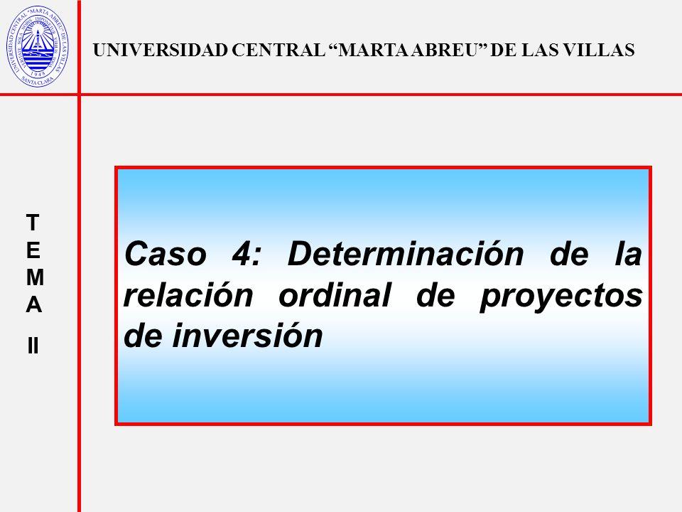 UNIVERSIDAD CENTRAL MARTA ABREU DE LAS VILLAS T E M A II Caso 4: Determinación de la relación ordinal de proyectos de inversión