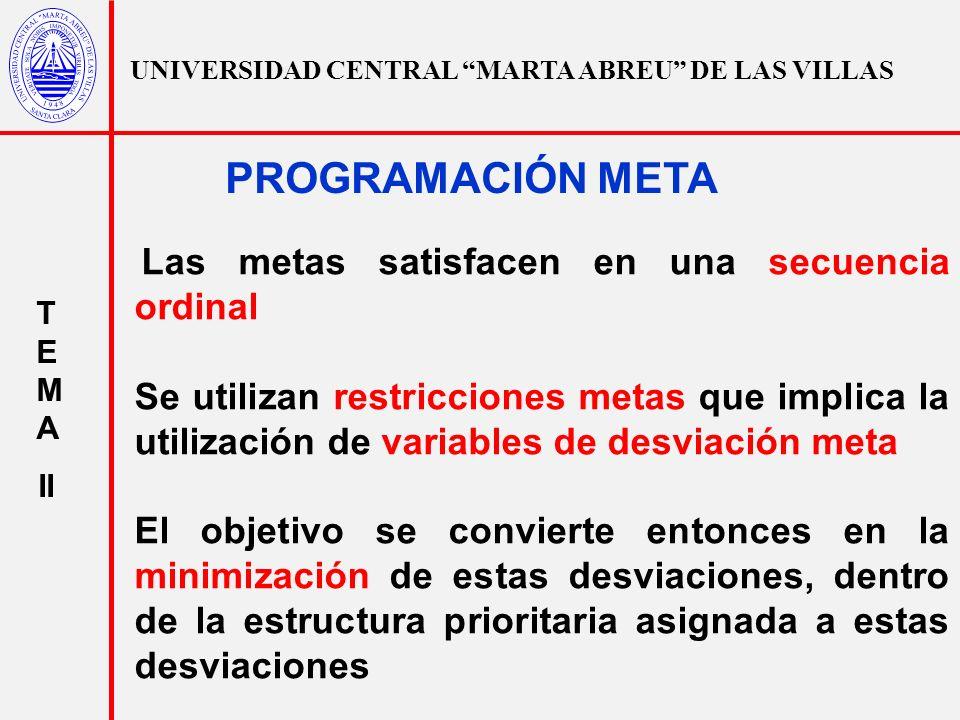 UNIVERSIDAD CENTRAL MARTA ABREU DE LAS VILLAS T E M A II PROGRAMACIÓN META Las metas satisfacen en una secuencia ordinal Se utilizan restricciones met