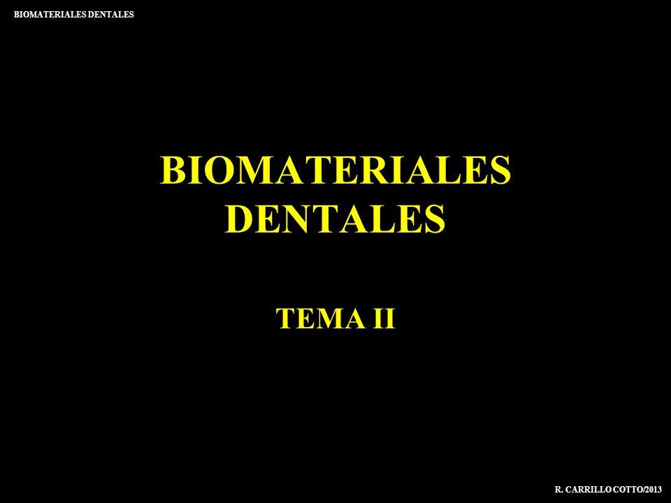 BIOMATERIALES DENTALES TEMA II R. CARRILLO COTTO/2013 BIOMATERIALES DENTALES