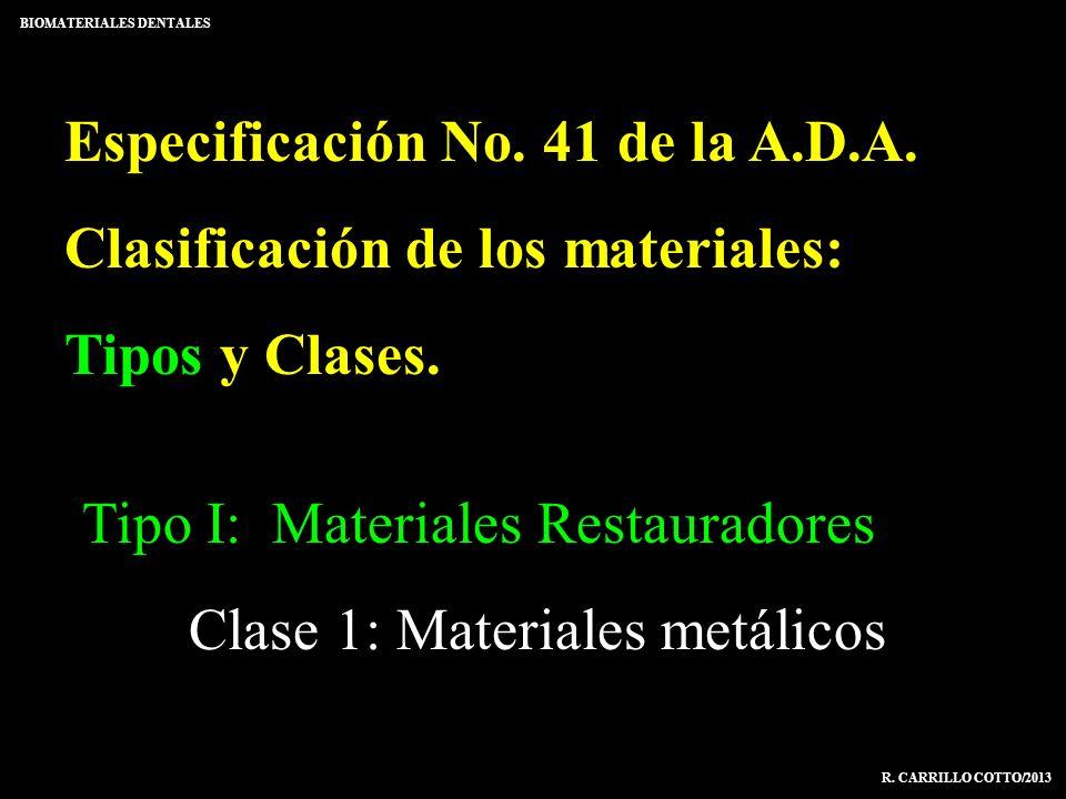 Especificación No. 41 de la A.D.A. Clasificación de los materiales: Tipos y Clases. BIOMATERIALES DENTALES R. CARRILLO COTTO/2013 Tipo I: Materiales R