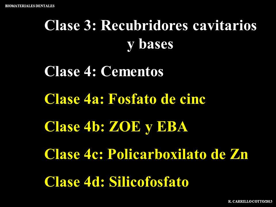 Clase 3: Recubridores cavitarios y bases Clase 4: Cementos Clase 4a: Fosfato de cinc Clase 4b: ZOE y EBA Clase 4c: Policarboxilato de Zn Clase 4d: Sil