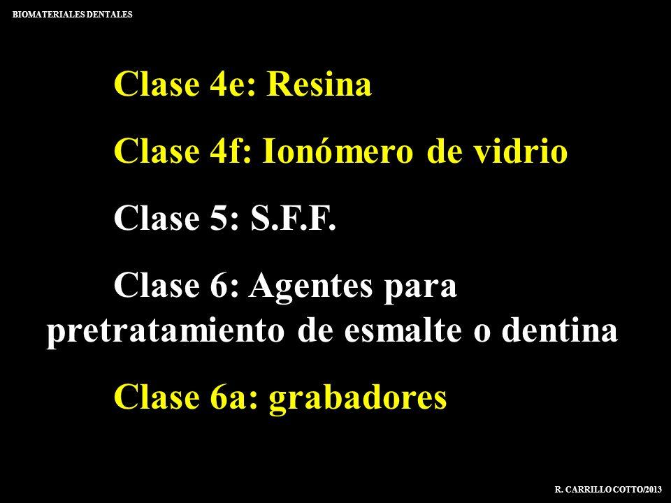 Clase 4e: Resina Clase 4f: Ionómero de vidrio Clase 5: S.F.F. Clase 6: Agentes para pretratamiento de esmalte o dentina Clase 6a: grabadores BIOMATERI