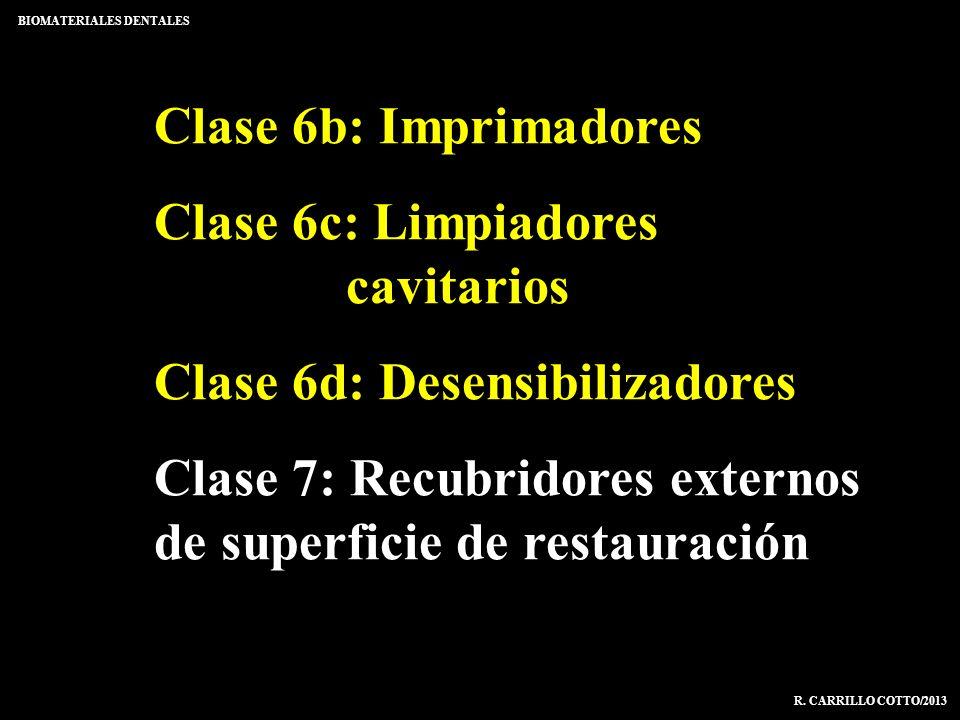 Clase 6b: Imprimadores Clase 6c: Limpiadores cavitarios Clase 6d: Desensibilizadores Clase 7: Recubridores externos de superficie de restauración BIOM