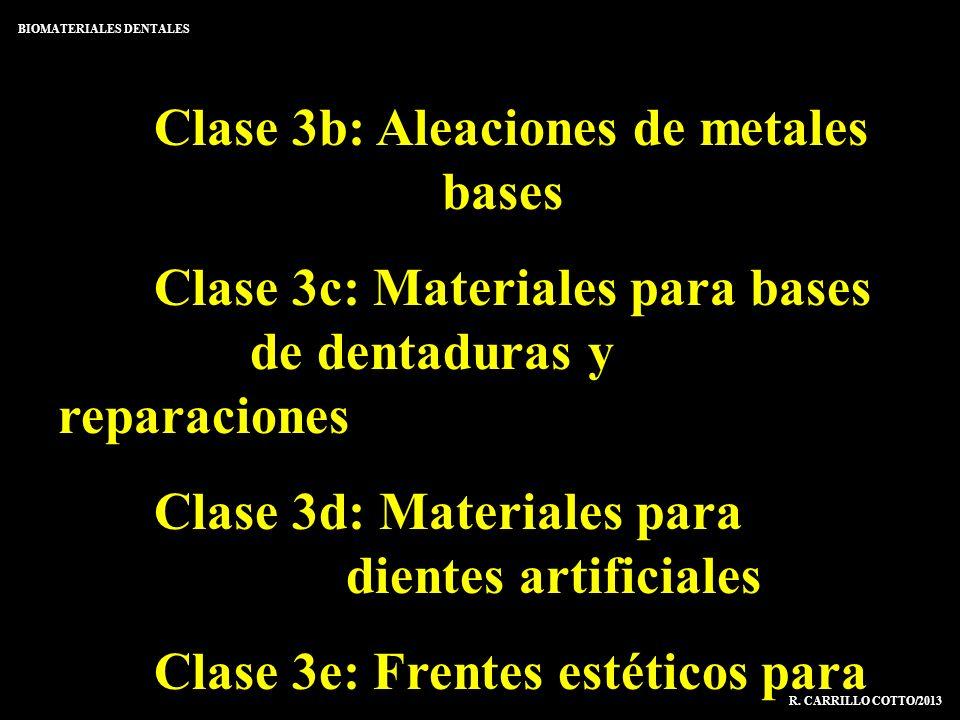Clase 3b: Aleaciones de metales bases Clase 3c: Materiales para bases de dentaduras y reparaciones Clase 3d: Materiales para dientes artificiales Clas