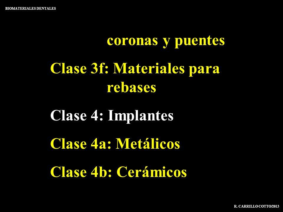 coronas y puentes Clase 3f: Materiales para rebases Clase 4: Implantes Clase 4a: Metálicos Clase 4b: Cerámicos BIOMATERIALES DENTALES R. CARRILLO COTT