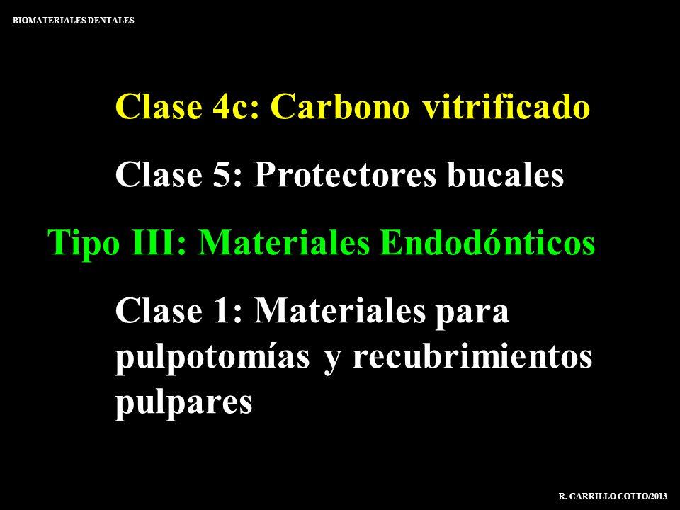 Clase 4c: Carbono vitrificado Clase 5: Protectores bucales Tipo III: Materiales Endodónticos Clase 1: Materiales para pulpotomías y recubrimientos pul