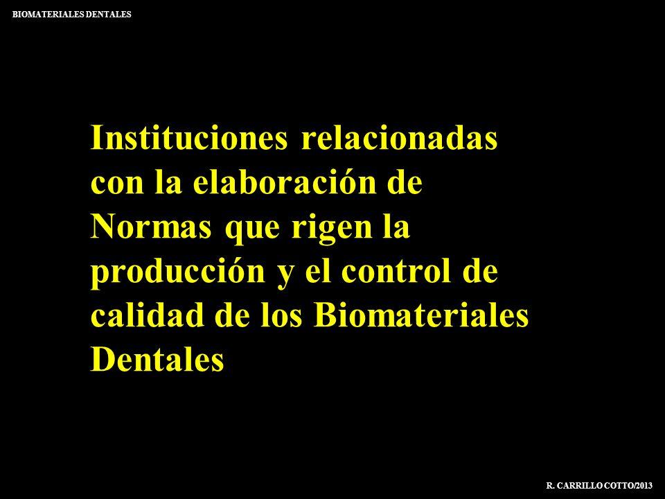 Instituciones relacionadas con la elaboración de Normas que rigen la producción y el control de calidad de los Biomateriales Dentales BIOMATERIALES DE