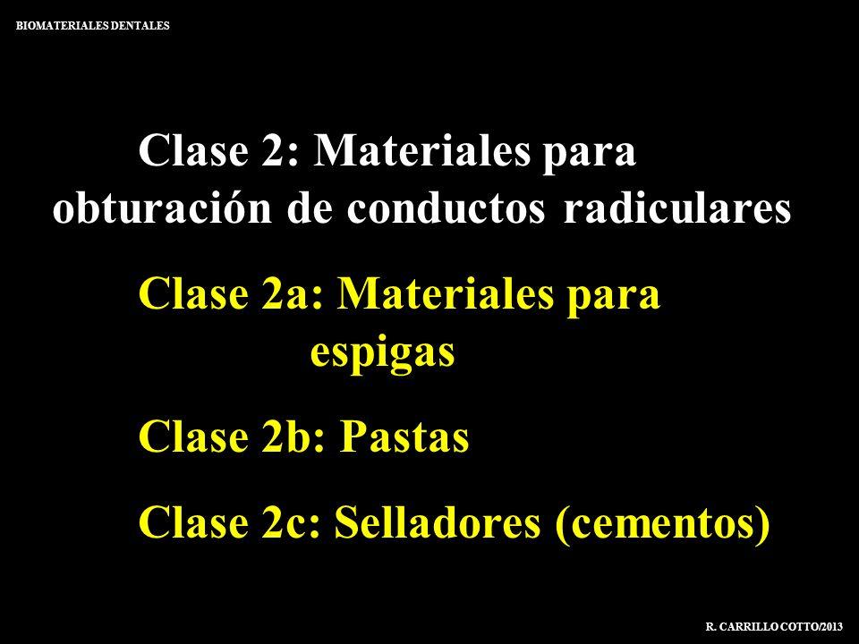 Clase 2: Materiales para obturación de conductos radiculares Clase 2a: Materiales para espigas Clase 2b: Pastas Clase 2c: Selladores (cementos) BIOMAT