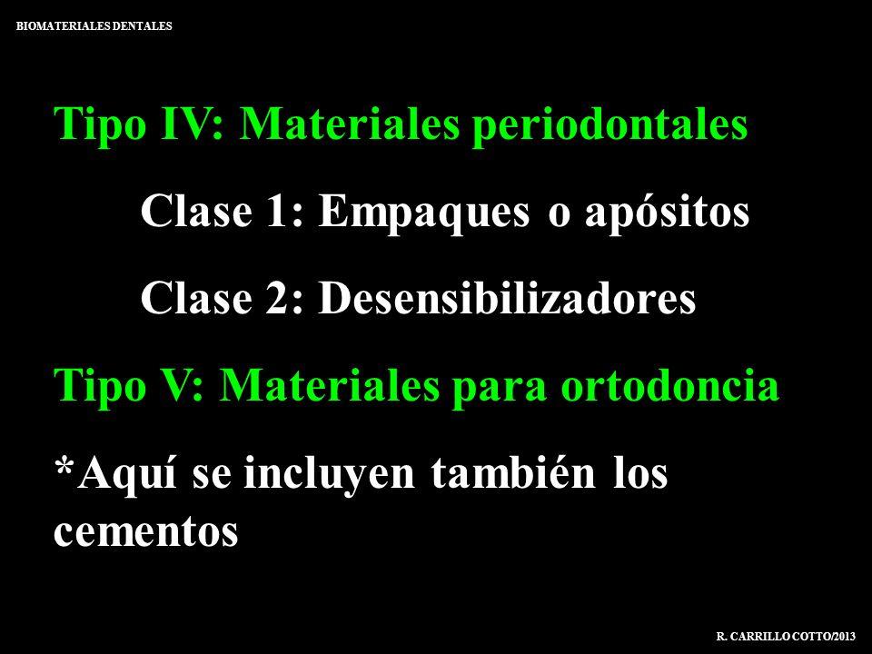 Tipo IV: Materiales periodontales Clase 1: Empaques o apósitos Clase 2: Desensibilizadores Tipo V: Materiales para ortodoncia *Aquí se incluyen tambié