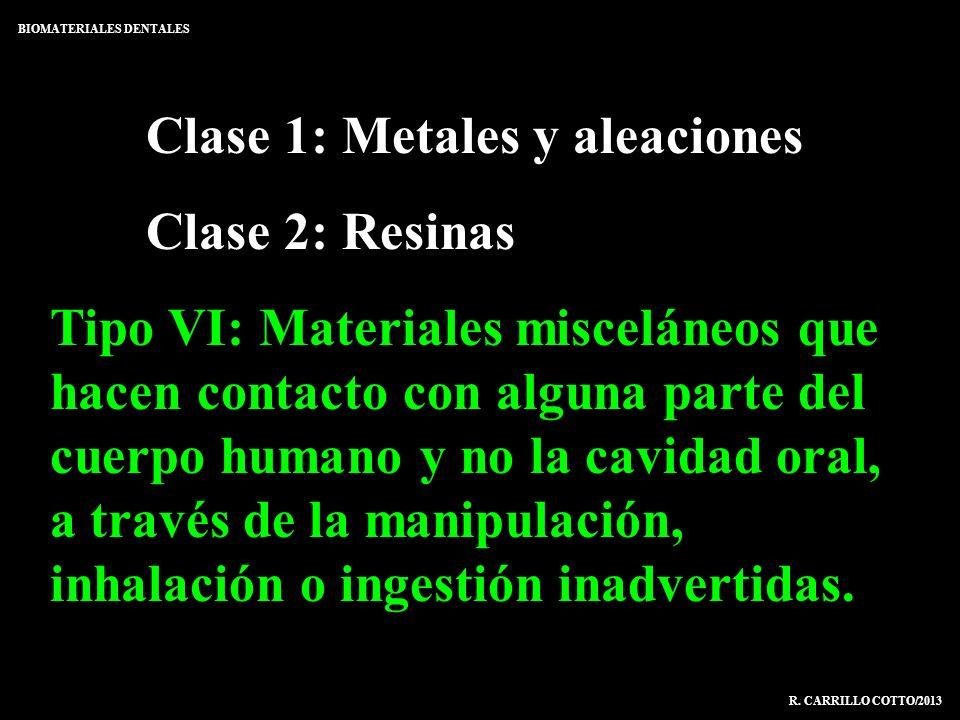 Clase 1: Metales y aleaciones Clase 2: Resinas Tipo VI: Materiales misceláneos que hacen contacto con alguna parte del cuerpo humano y no la cavidad o