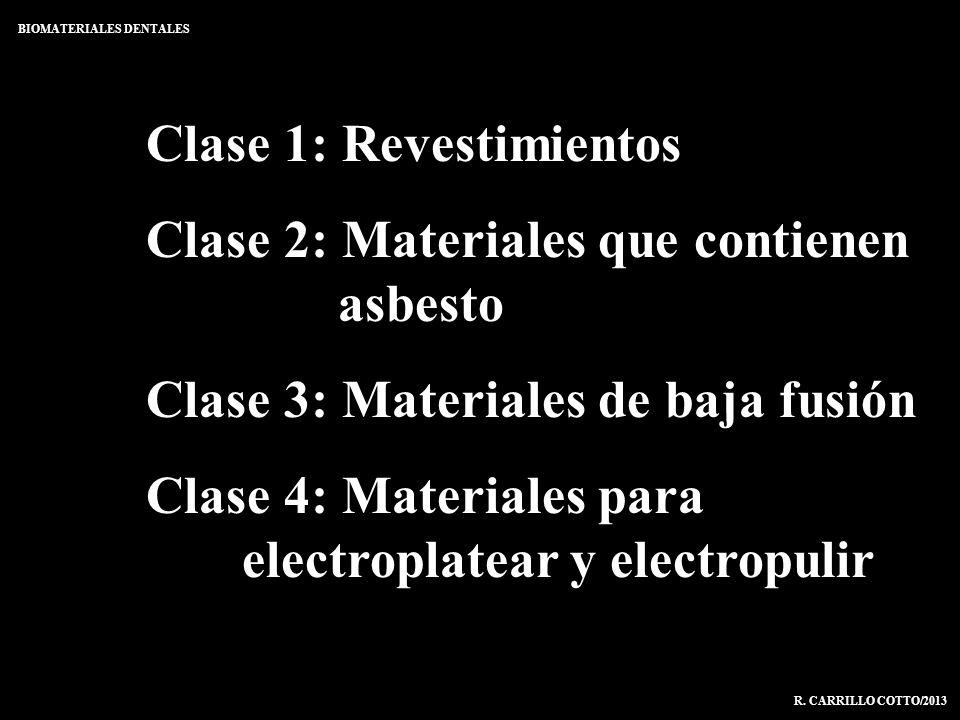 Clase 1: Revestimientos Clase 2: Materiales que contienen asbesto Clase 3: Materiales de baja fusión Clase 4: Materiales para electroplatear y electro