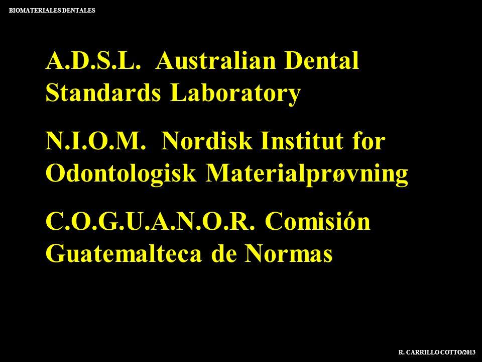 A.D.S.L. Australian Dental Standards Laboratory N.I.O.M. Nordisk Institut for Odontologisk Materialprøvning C.O.G.U.A.N.O.R. Comisión Guatemalteca de