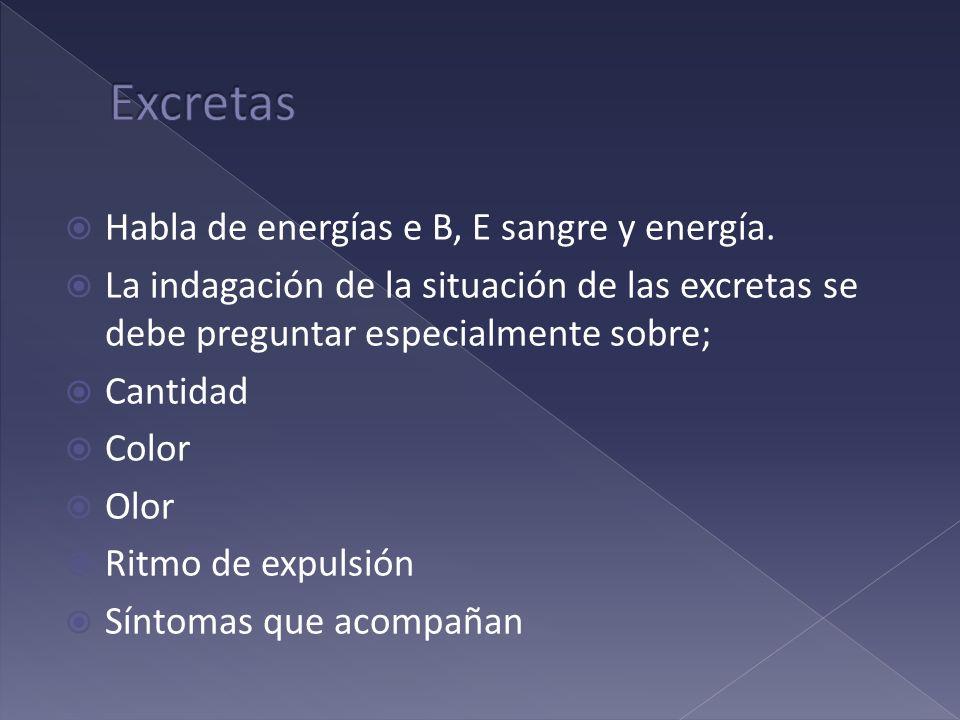Habla de energías e B, E sangre y energía. La indagación de la situación de las excretas se debe preguntar especialmente sobre; Cantidad Color Olor Ri