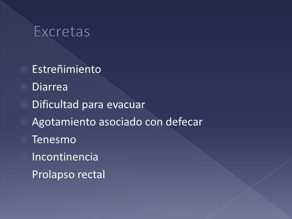 Estreñimiento Diarrea Dificultad para evacuar Agotamiento asociado con defecar Tenesmo Incontinencia Prolapso rectal