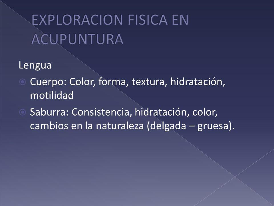 Lengua Cuerpo: Color, forma, textura, hidratación, motilidad Saburra: Consistencia, hidratación, color, cambios en la naturaleza (delgada – gruesa).