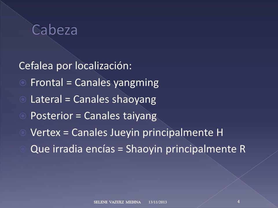 Cefalea por localización: Frontal = Canales yangming Lateral = Canales shaoyang Posterior = Canales taiyang Vertex = Canales Jueyin principalmente H Q