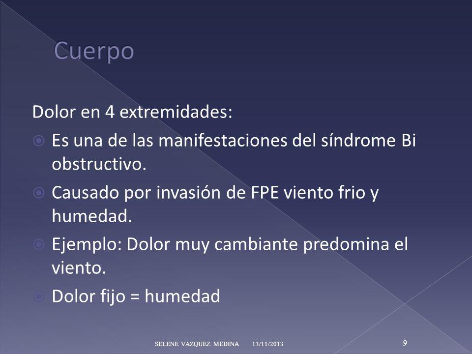 Dolor en 4 extremidades: Es una de las manifestaciones del síndrome Bi obstructivo. Causado por invasión de FPE viento frio y humedad. Ejemplo: Dolor