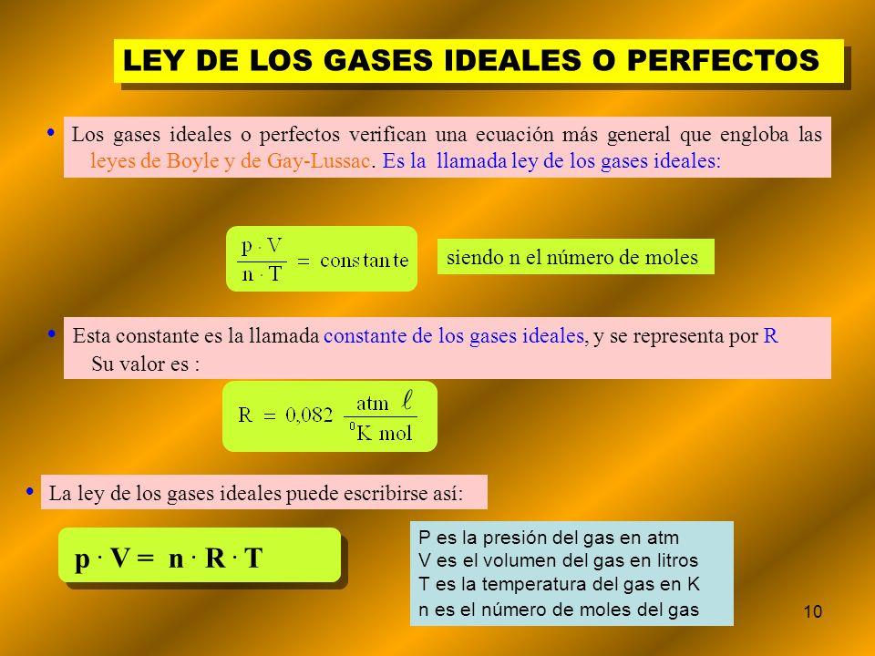 10 LEY DE LOS GASES IDEALES O PERFECTOS siendo n el número de moles Los gases ideales o perfectos verifican una ecuación más general que engloba las l