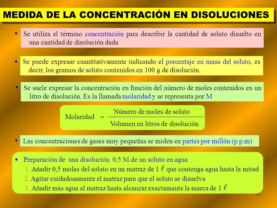 11 MEDIDA DE LA CONCENTRACIÓN EN DISOLUCIONES Se utiliza el término concentración para describir la cantidad de soluto disuelto en una cantidad de dis