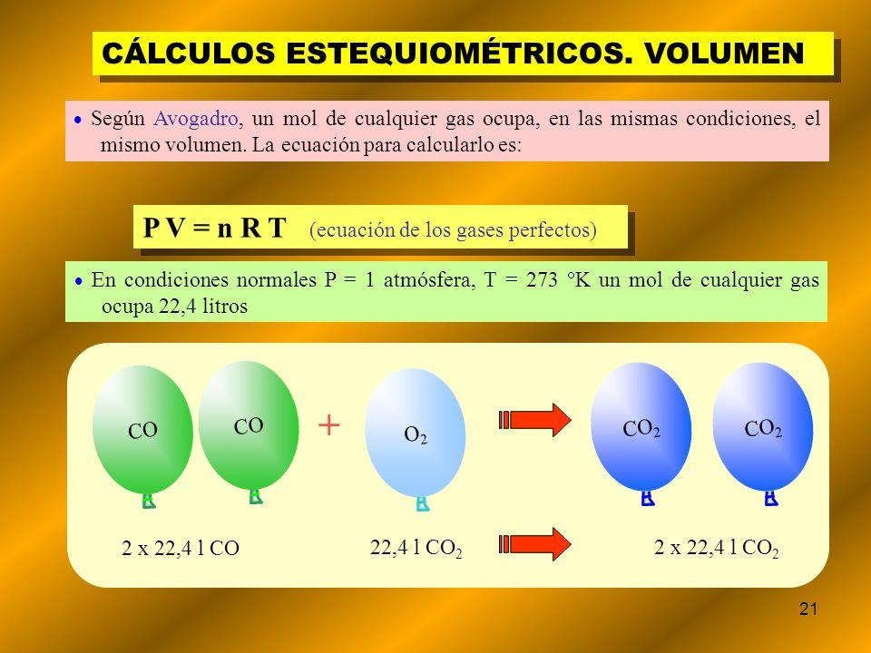 21 CÁLCULOS ESTEQUIOMÉTRICOS. VOLUMEN Según Avogadro, un mol de cualquier gas ocupa, en las mismas condiciones, el mismo volumen. La ecuación para cal