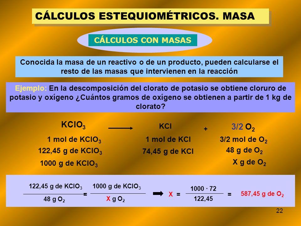 22 CÁLCULOS ESTEQUIOMÉTRICOS. MASA Conocida la masa de un reactivo o de un producto, pueden calcularse el resto de las masas que intervienen en la rea