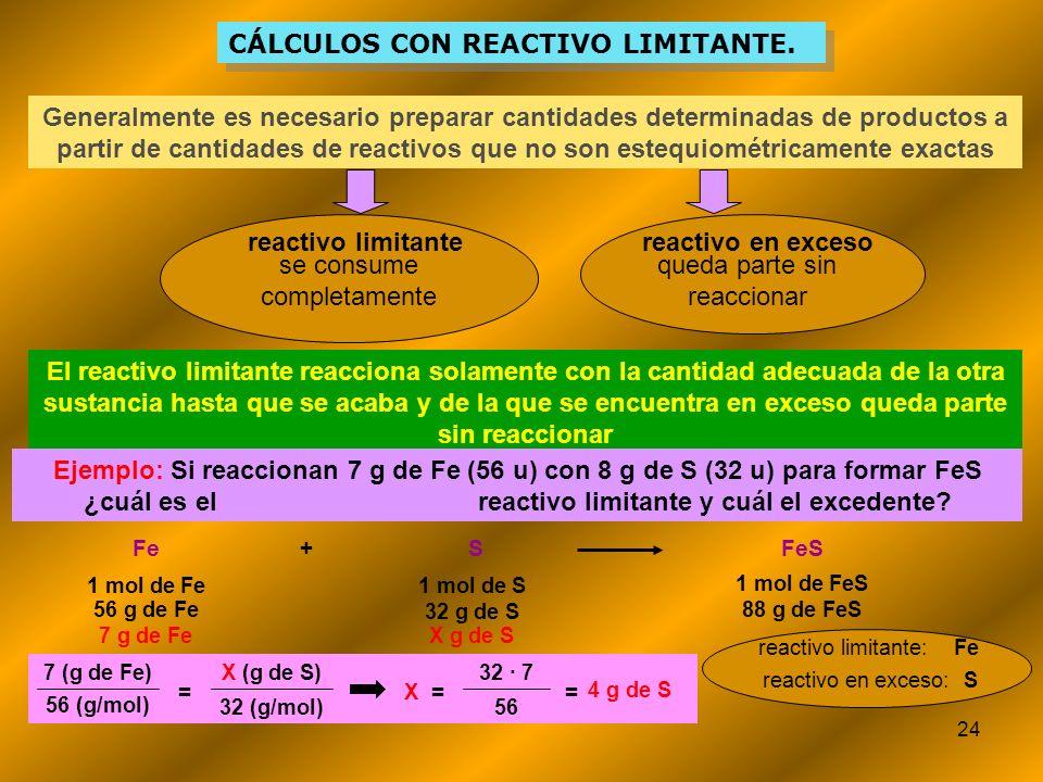 24 CÁLCULOS CON REACTIVO LIMITANTE. Generalmente es necesario preparar cantidades determinadas de productos a partir de cantidades de reactivos que no