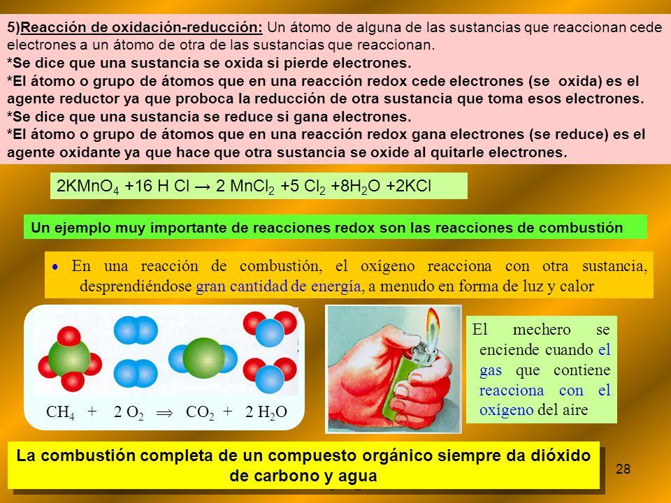 28 Un ejemplo muy importante de reacciones redox son las reacciones de combustión En una reacción de combustión, el oxígeno reacciona con otra sustanc