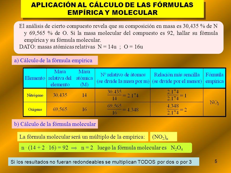 5 APLICACIÓN AL CÁLCULO DE LAS FÓRMULAS EMPÍRICA Y MOLECULAR El análisis de cierto compuesto revela que su composición en masa es 30,435 % de N y 69,5